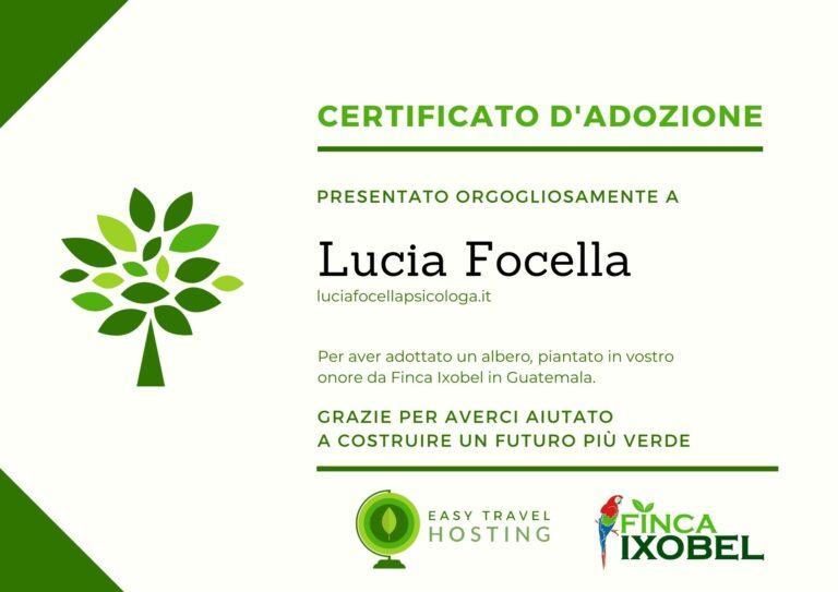 CERTIFICATO ALBERO LUCIA FOCELLA EASY TRAVEL HOSTING ECOLOGICO