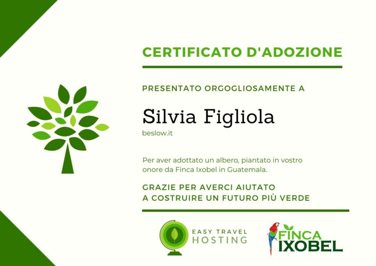 certificato albero beslow.it easy travel hosting ecologico