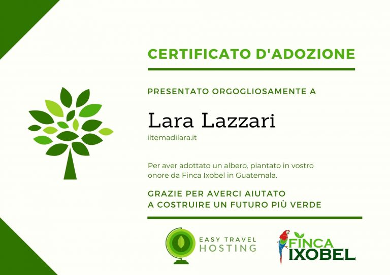 certificato albero easy travel hosting ecologico iltemadilara.it