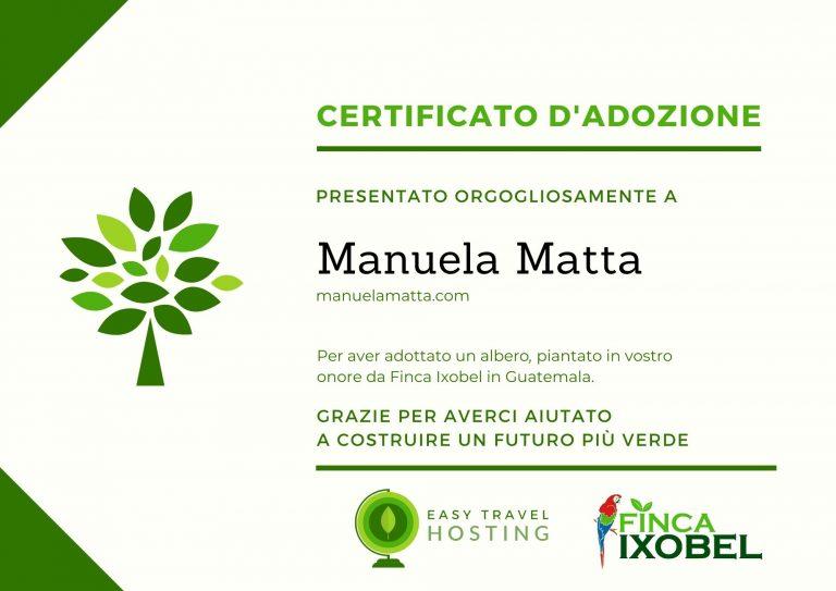 certificato albero easy travel hosting ecologico manuelamatta.com