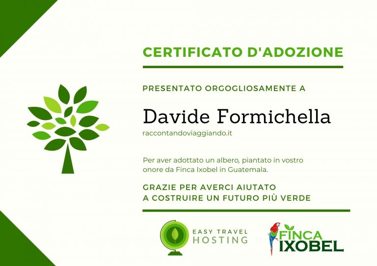certificato albero easy travel hosting ecologicoraccontandoviaggiando.it
